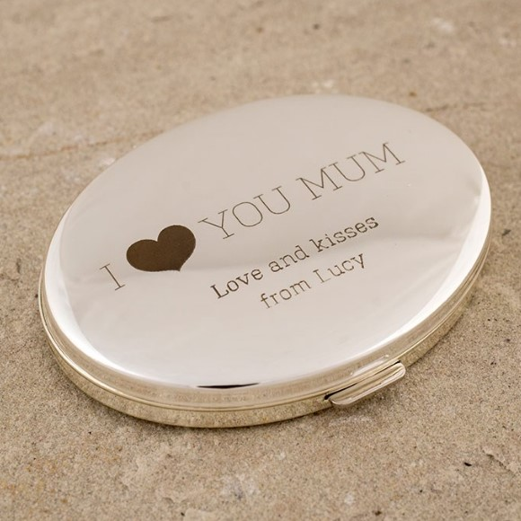Engraved Silver Oval Compact Mirror - I Love You Mum