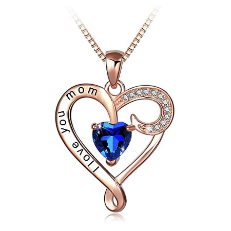 5. I Love You Mom Rose Gold Plated Heart Pendant Necklace