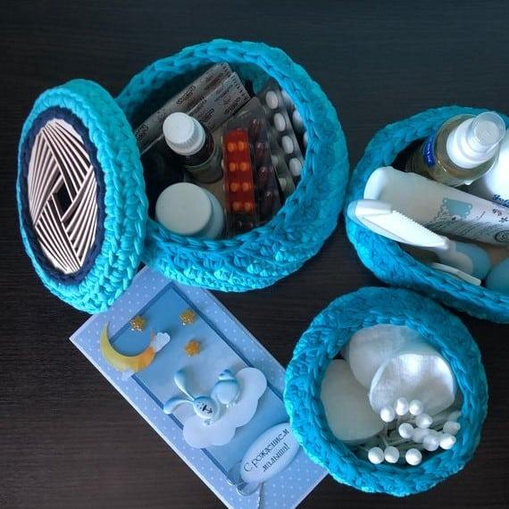 Mother's Day Classic Blue Set Crochet Baskets for New Mom