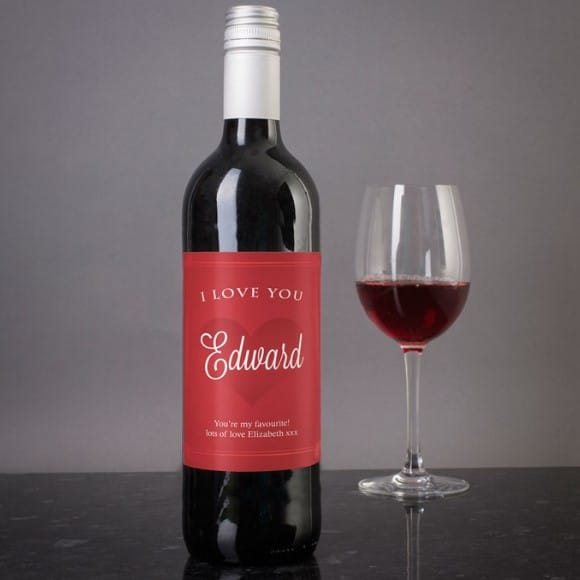Personalized Wine - I Love You Red Heart Design