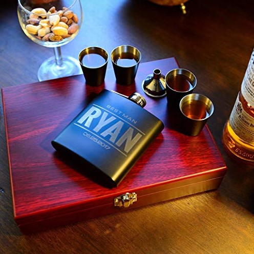 Personalized Flask Set in Rose Wood Box